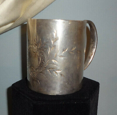 VRare c1840-1860 COIN SILVER over TIN applied HOLLOW HANDLE MUG - TOP CONDITION