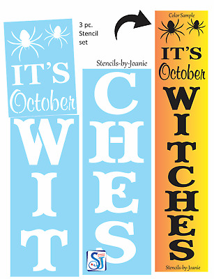 """Joanie 3 pc Stencil October Witches 48"""" Vertical Porch Board DIY Home Decor Art"""
