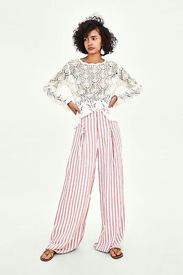 Zara pink and white striped wide leg trousers size XS