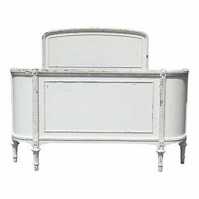 Vintage Solid Wood White Painted Cottage Shabby Chic Double Full Bed c.1920's