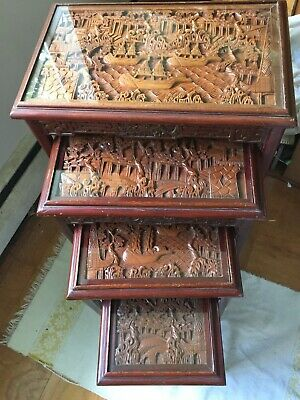 VINTAGE CHINESE NESTING/STACKING TABLES set of 4 carved wood with glass tops