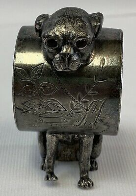 VICTORIAN glass eyes PUG DOG NAPKIN RING....antique Wilcox silver plate Co.