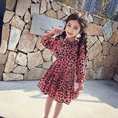 Princess Baby Girls Long Sleeve Leopard Party Dresses Kids Outfit Sundress