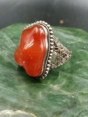 Gorgeous Chinese Export Sterling Carnelian Ring