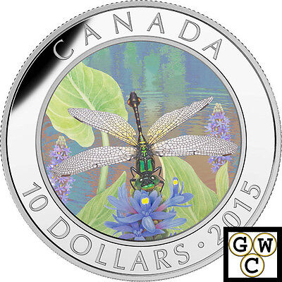2015 'Pygmy Snaketail Dragonfly' Proof $10 Silver Coin .9999 Fine(17004)(NT)OOAK