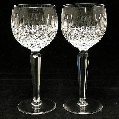 2 Waterford Crystal Colleen Tall Cut Wine Hock Glasses