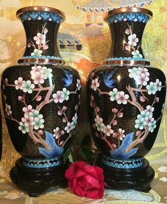 very beautiful large mirror pair of antique vintage Chinese cloisonne vases 10""