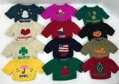 Doll Teddy Bear Small Knit Sweaters Complete Set Of 12 Months-Seasons Holidays