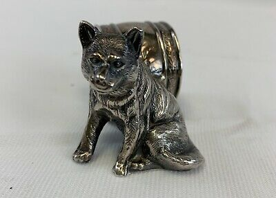 Beautiful Sterling Silver Wolf Napkin Holder antique