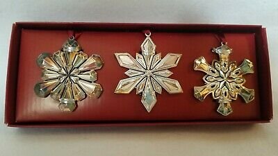 Gorham Set of 3 Silver Plated Stars Christmas Tree Ornaments