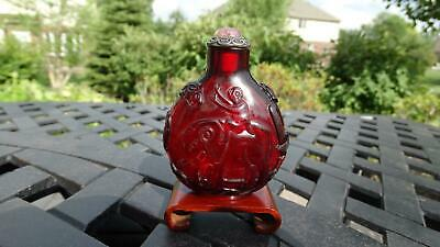 Antique Chinese Snuff Bottle of Carved Ruby Red Glass Monkey Elephant Qing Fine