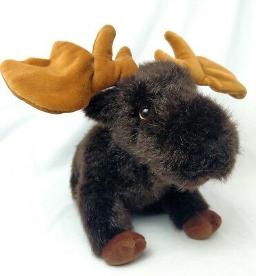 Mint BEARINGTON Collection MOOSE Plush Suffed BeanBag Velvet Poseable Antlers 9""