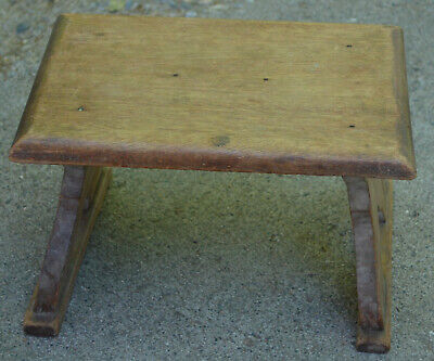 Antique Hard Wood Milking Step Stool Hand Carved Ornate Rustic Homemade