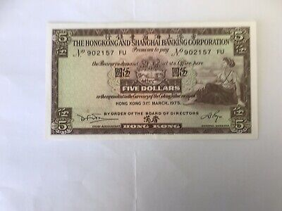 Hong Kong & Shanghai Banking Corporation 1975 5 Dollars Bank Note.