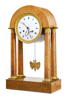19Th Century French Empire Burr Walnut Mantel Clock