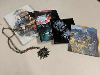 WITCHER 3 WILD HUNT PC Collectors Edition items Steelbook Medallion Stickers Map
