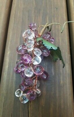 Vintage Decorative Faux Grape Cluster Acrylic Grapes Bunch Purple Plastic Beaded