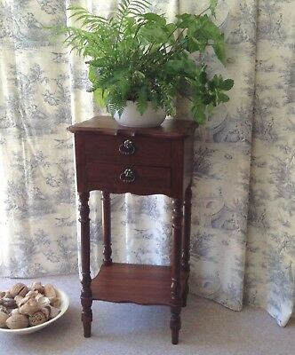 Hall Lamp Table Stand - Plant Stand  - Solid Wood - French Vintage Mahogany Tone
