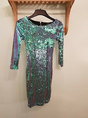 Missguided Green Beetle Sequin Dress size 6