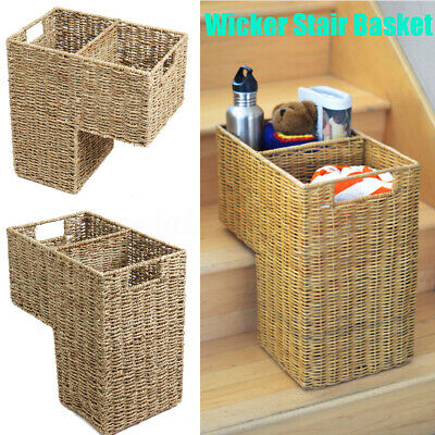 16x8x16.5'' Wicker Handwoven Stair Step Storage Basket Container Carry