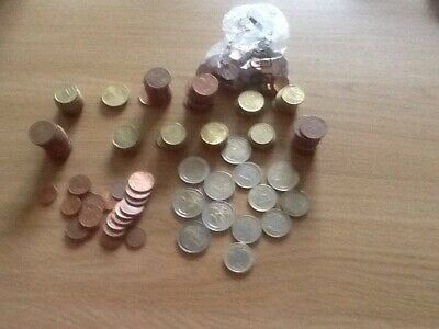 Approximately 33.42 Euros in coins. Unused holiday money.
