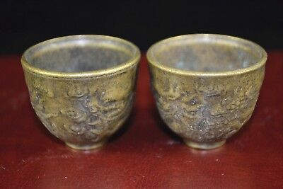 Collectible Chinese Old Antique Handwork Dragon Rare Tibet Copper Pair Wine Cups