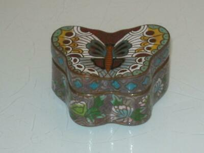 Stunning Vintage Chinese Cloisonne On Copper Lidded Butterfly Box