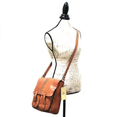 PATRICIA NASH Armeno Tan MESSENGER Leather PURSE Garment Washed STUD Brown NWT