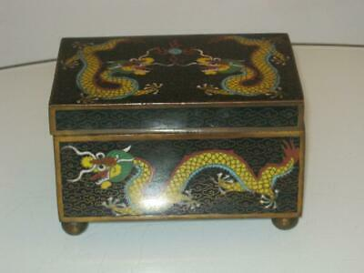 STUNNING 19th CENTURY CHINESE 5 TOED DRAGON CLOISONNE FOOTED BOX