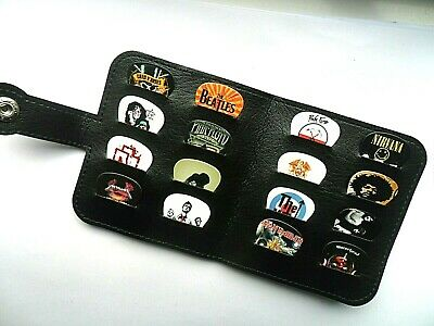 16 Different Stunning  GROUPS // BANDS  Guitar Plectrums //  Picks With  Wallet