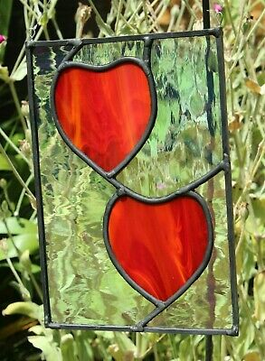 Stained glass small garden panel red hearts sun catcher