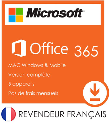 Microsoft office 365 Pro Plus 2016 Lifetime Pour 5 PC Windows/Mac