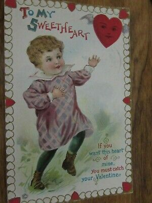 VINTAGE ANTIQUE Valentine postcard 1 cent stamps dated early 1900's