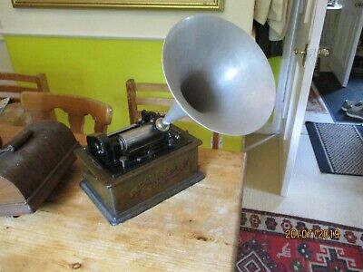 A 2 & 4 minute gearing Edison Standard cylinder phonograph with original horn