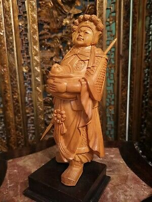 Antique Chinese Hand Carved Boxwood Figure Figurine