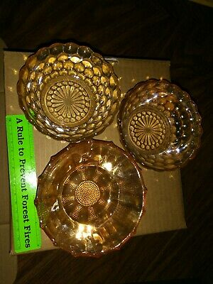 3 small Bowls Carnival Irridescent Bubble Anchor Hocking & 1 Jeannette dewdrop
