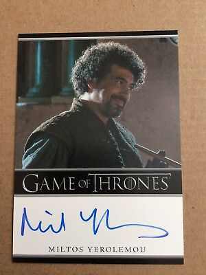Game Of Thrones Season 1 Miltos Yerolemou Autograph Card, Syrio Bordered Auto