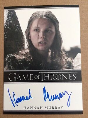 Game Of Thrones Season 5 Hannah Murray Bordered Autograph Card, Gilly Auto