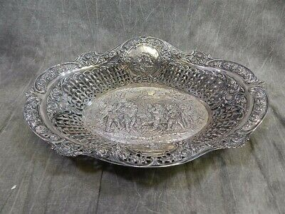 Massive Reticulated Continental Silver .800 Centerpiece Bowl 806 grams