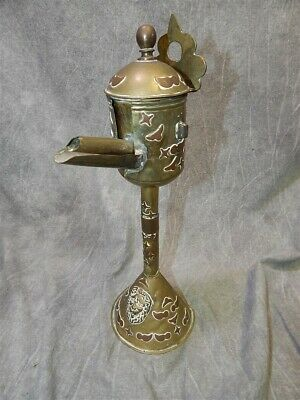 EARLY Antique Brass Decorated Whale Oil or Fat Lamp Lion & Copper decor
