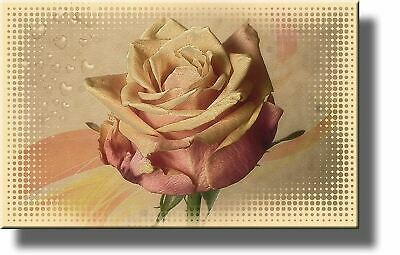Light Pink Vintage Rose Flower Picture on Stretched Canvas, Wall Art Decor Ready