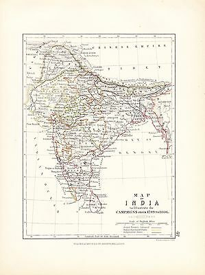 Map/Battle Plan ~ India Illustrating The Campaigns From 1799 - 1806