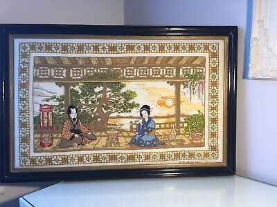Vintage Handmade Tapestry Oriental Picture. Signed