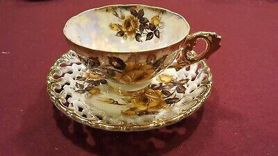Rare Antique Vintage Royal Sealy China Mother of Pearl Tea Cup & Saucer
