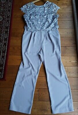 Phase Eight formal lace overlay jumpsuit grey/silver UK 16 wedding event