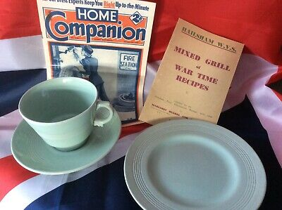 1940s Wartime Wood's Ware Beryl Green Utility Trio Breakfast Cup Saucer + Plate