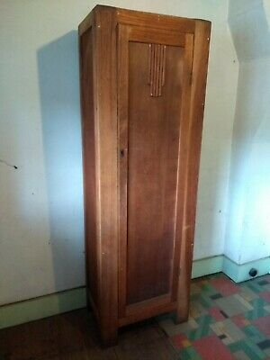 Vintage tall wooden hallway or linen cupboard slatted shelves 1930s art deco