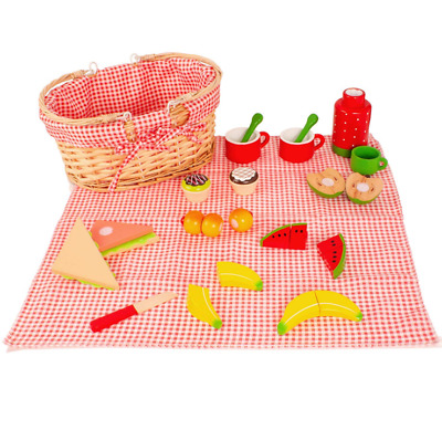 Milly & Ted Wooden Picnic Basket Childrens Pretend Kids Play Food Wood Toy Set
