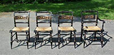 Vintage Set 4 Turtle Back Hitchcock Harvest Stenciled Rush Seat Dining Chairs CT