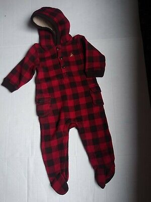 BABY GAP NWT Boys 6-12 Months Plaid Flannel Warm Hooded One Piece Footie Pajamas